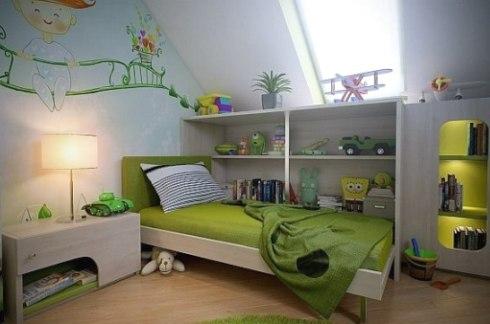Вариант устройства детской комнаты в чердачном помещении