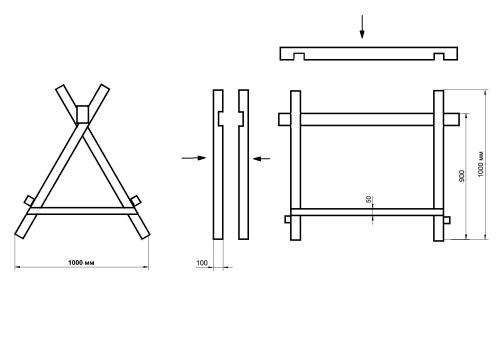 Строительные козлы своими руками чертежи из металла 16
