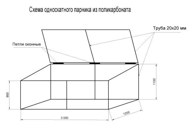 Теплица домиком своими руками из поликарбоната чертеж 62
