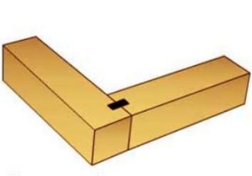 Стыковка бруса на прямой плоской шпонке (нагеле)