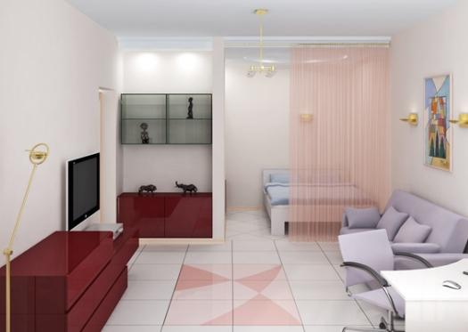 Обустройство спальни гостиной в одной комнате 4