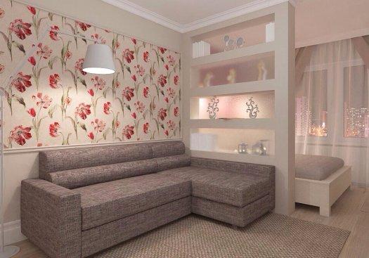 гостиная и спальня в одной комнате зонирование и дизайн интерьера