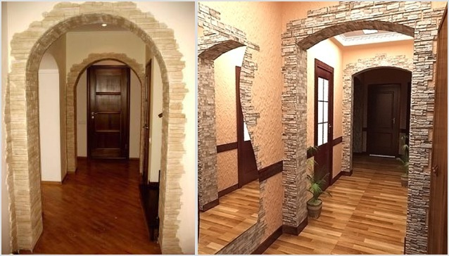 Отделка декоративным камнем косяки дверей