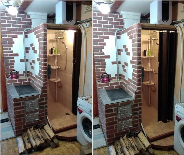Фото №2 От кухни кабину душа отделяют кирпичная перегородка и раздвижная дверь «гармошка»