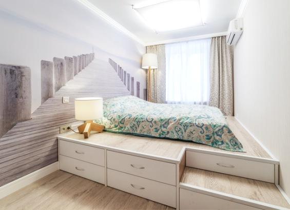 Кровать подиум в спальне своими руками фото