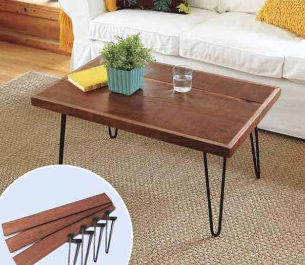 Деревянный столик на металлических ножках из гладкого арматурного прутка