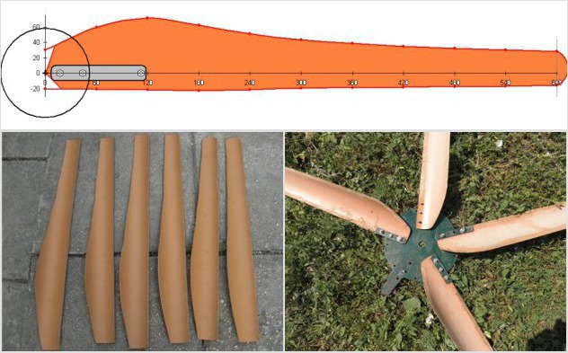 Конфигурация лопасти из пластиковой трубы