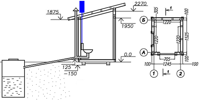 Уличный туалет подробный чертеж с размерами