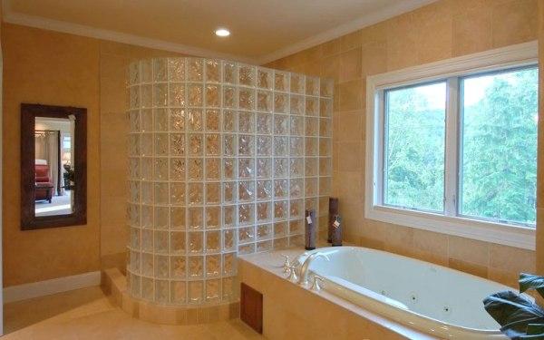 Стена из стеклоблоков в ванной своими руками